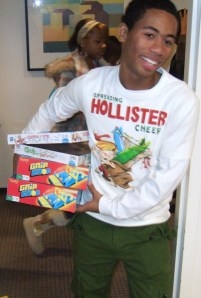 """Youth United Way students are delivering """"Shoebox Christmas"""" to children at Orleans Elementary today."""
