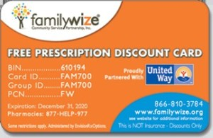 familywize discount prescription cards can help you save on prescription medications. Visit www.familywize.org for details